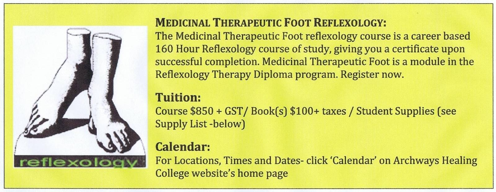 Information regarding Medicinal Therapeutic Foot Reflexology from Archways massage school in Alberta