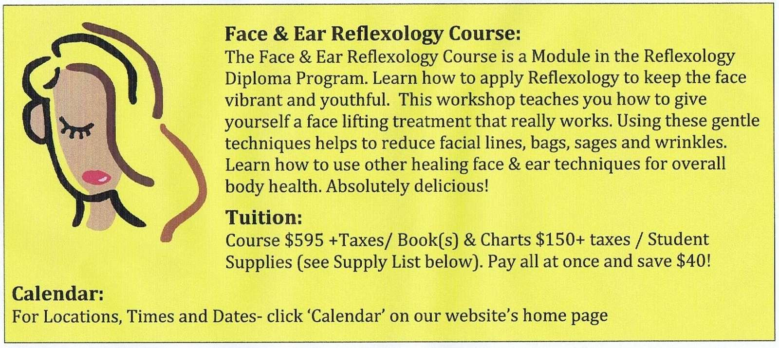 A poster with information about the Face and Ear Reflexology Program offered by Alberta massage school, Archways Healing College.